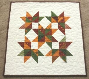 """Hand Made Quilted Table Runner/Topper ~ 16 1/2""""~ 100% Cotton~Red, Gold, Green"""