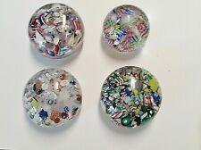 "Lot of 4 Scramble / Confetti Art Glass Paperweights - 2 1/8"" to 2 5/8"""