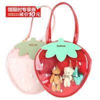 Lolita Strawberry Backpack Ita bag Transparent Handbag Casual Tote Shoulder Bag