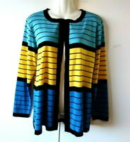 WOMEN'S EXCLUSIVELY MISOOK BLUE BLACK YELLOW STRIPED OPEN CARDIGAN JACKET SIZE S
