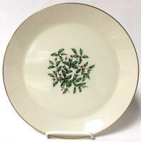 """Lenox Special 10"""" Holiday Plate Christmas With Holly Berries & Gold Trim"""
