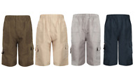 KIDS PLAIN SUMMER  MULTIPOCKET SHORTS BOYS SCHOOL ARMY PRINT CARGO COMBAT 3-14 Y