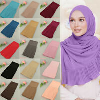 Women's Muslim Pleated Crinkle Hijab Long Scarf Shawl Head Wrap Pashmina Scarves