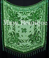 Green Piano Shawl Scarf Wrap All Beaded Silk Burnout Velvet Maya Matazaro