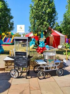 Hire Only* Vintage White Candy Floss Machine & Popcorn Cart Birthdays Weddings
