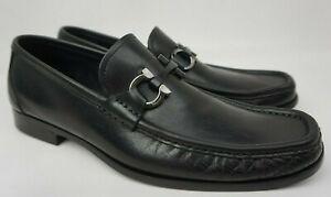 Salvatore Ferragamo Grandioso Bit Men's Black Leather Loafers Shoes Size 8 D