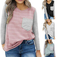 Womens Loose Long Sleeve Tops Blouse Shirt Casual Striped Pocket Decor T-Shirt