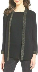 NEW Eileen Fisher Shimmer Merino Black Cardigan Size XL
