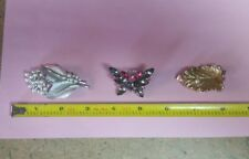 Brooch Pin Lot of 3, Trifai, Butterfly, Leaves