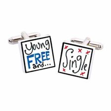 Young Free & Single Cufflinks by Sonia Spencer, boxed. Hand painted, RRP £20!
