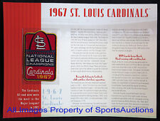ST LOUIS CARDINALS 1967 NL CHAMPIONS PATCH Willabee Ward CHAMPIONSHIP COLLECTION
