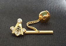 MASONIC TIE PIN SQUARE AND COMPASS GOLD WITH CRYSTALS