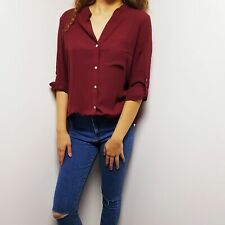 Sale Forever 21 New Fashionable Woman Long Sleeve Blouse Top Red Shirt S 8 10 UK