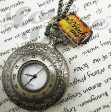 Alice in Wonderland Pocket Watch Necklace DRINK ME Tag LARGE