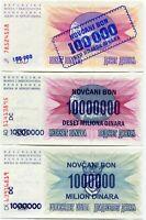 Bosnia and Herzegovina Pick 34 - 36 UNC Banknote set - RARE Paper Money