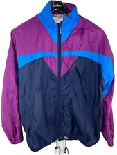 Vintage 1990s Adidas Track Jacket Windbreaker Men's Medium Blue Purple Hip Hop