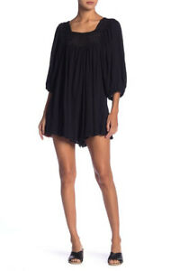 Free People Womens Dancing In The Waves OB781438 Romper Relaxed Black Size XS