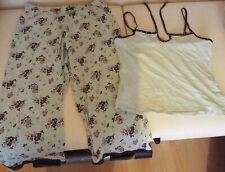 Presence Light Green Plain Top Floral Bottoms Pyjamas Size 10