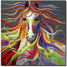 Horse Oil Painting On Canvas 30x30inch Colorful Wild Animal Modern Wall Art For
