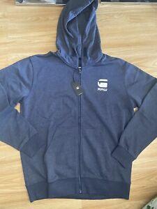 G Star New Mens Blue Medium Zip Up Hoodie RRP £79.99