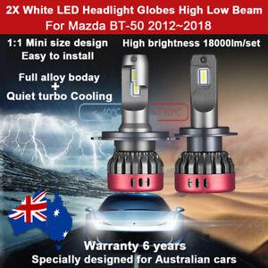 2X Mini 18000LM Headlight Globe For Mazda BT-50 Ute 2014 2015 2016 High Low Beam