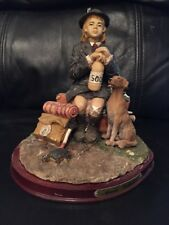 VINTAGE SUMMER CAMP GIRL RESIN FIGURINE ON WOOD STAND...DETAILED BY MARLO COLLEC