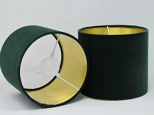 Lampshade Forest Green Velvet Brushed Gold Drum Light Shade