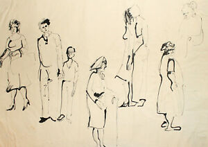 Vintage expressionist portrait ink painting figures