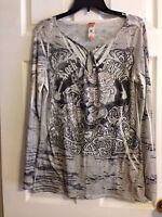Gorgeous! S-12 Multi-Color Printed Tunic w/Beaded Front & Long Sleeves ~ Sz.L