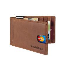 Herren Kreditkartenetui mit Geldklammer Geldbörse aus Leder RFID Schutz Braun