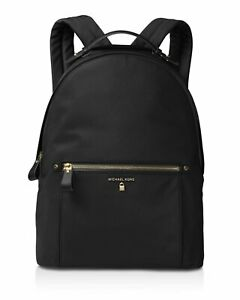Michael Kors KELSEY black nylon backpack women gold zips BRAND NEW 100% GENUINE.