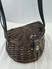 Wicker Creel Fishing Basket Leather Shoulder Strap