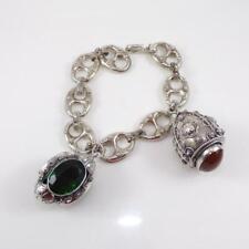 "Vintage Etruscan Sterling Silver Chunky Modernist Fob Charm Bracelet 8"" LFJ4"