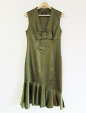 Cue Size 12 Olive Green Stretch Satin Sleeveless V-Neck Wiggle Flounce Hem Dress