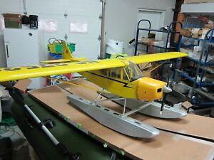 RARE, VINTAGE! Model Rc Airplane  J3-Cub Floats, 1/4 Scale Hanger 9? OS FS 120