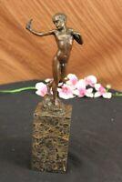 Milo Nude Boy Sling Shot Bronze Sculpture Original Handcrafted Figure Statue Art