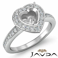 Diamond Engagement Ring Heart Semi Mount 18k White Gold  Halo Pave Setting 1Ct