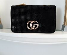 Ladies Designer Handbag. Sequin. Shoulder Chain. Patent. Black. Fast  Delivery