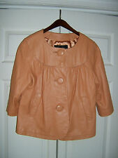 Terry Lewis Classic Luxuries Honey 100% Genuine Leather Jacket w/Ruffles Size M