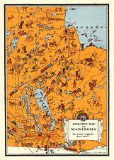 c1930 Antique MANITOBA Canada Map Vintage Animated Cartoon Map of Manitoba 5861