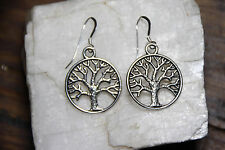Of Life Trees pewter 1 pair Nature 925 sterling silver earring Hooks charm Tree
