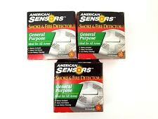 (3) American Sensors Smoke & Fire Detector General Purpose Ionization Technology