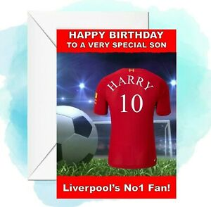 personalised Football birthday card Liverpool Inspired any name/age/relation