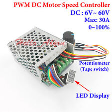 DC12V 24V 48V 60V 30A PWM DC Motor Speed Controller Regulator Switch LED Display