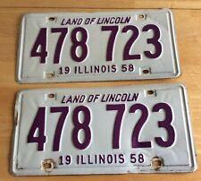 Pair Vintage 1958 Illinois Passenger License Plates Purple White 478 723 plate