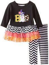 BONNIE JEAN Baby Girls Halloween BOO Ghost Tutu Tunic Legging Outfit Set 3-6 M