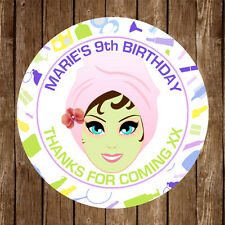 15x Personalised Spa Party 50mm Round Stickers Gift Bags Thank You Seal Favours