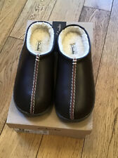 Clarks Relaxed Style Brown Leather Mens Slippers UK 7 Fit G (41) New