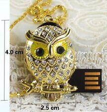 USB Schmuck Speicher Stick Speicherstick Flash Drive Eule Owl Gelb 4 GB