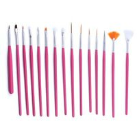 15Pcs Acrylic UV Gel Nail Art Design Pen Polish Painting Tool Dotting Brush